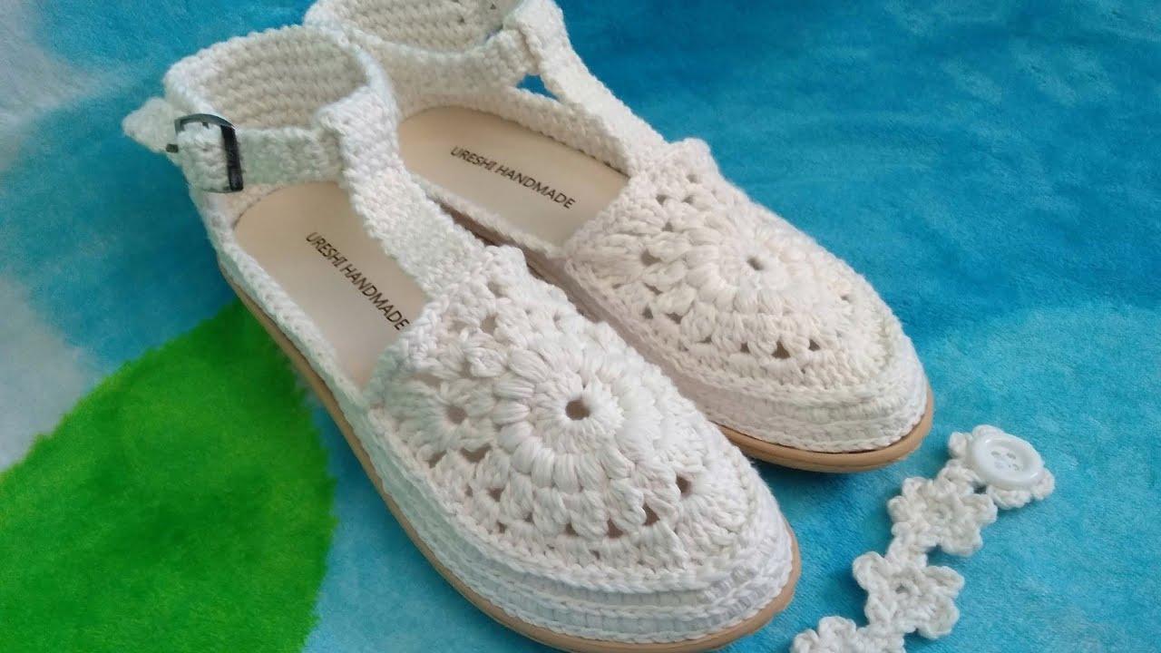 CROSHET | Tutorial merajut sepatu sandal party dengan motif granny